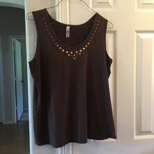 COPY - white stag brown embellished tank top XL